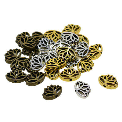 30x Retro Metal Lotus Flower Spacer Loose Beads Connectors Charm Craft Mixed