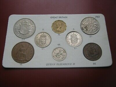 UK British 1963 Elizabeth II Coin Collection Set: Half-Penny ~ Half-Crown carded