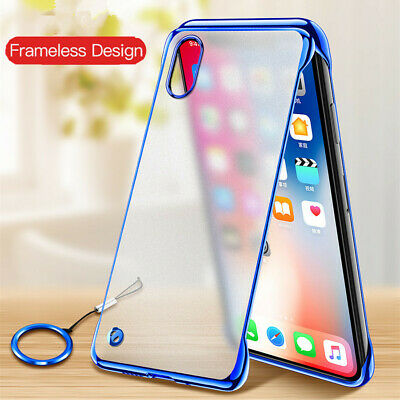 For iPhone Xs Max XR 7 8 Plus Frameless Frosted Ultrathin Hard Ring Holder Case