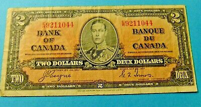 1937 Bank of Canada 2 Dollar Note - F15/VF