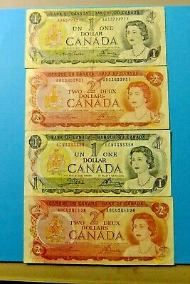 Four 1973 and 1974 Bank of Canada Notes. Interesting Serial Numbers