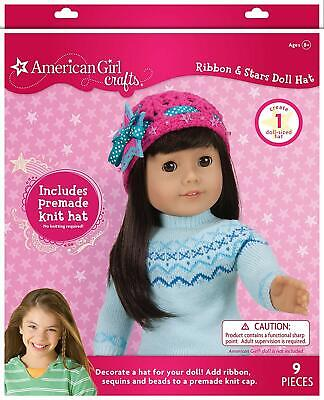 """AMERICAN GIRL DOLL CRAFTS Ribbon and Stars Hat Create Art Kit 18"""" Clothes NEW"""