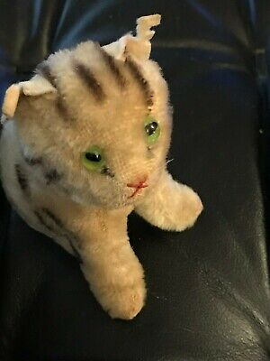 Steiff Vintage steiff zicky the goat and tabby cat-green glass eyes in good cond