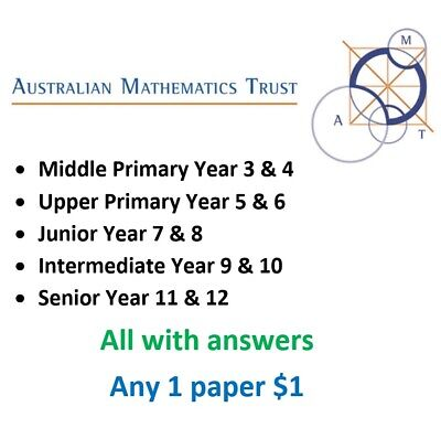 AMC Australian Mathematics Competition Past papers - $1/paper with answers