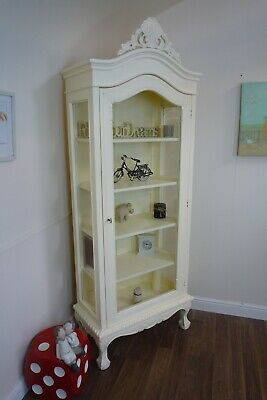 Shabby Chic Display Cabinet In Cream - French Style Glass Door Display Cabinet