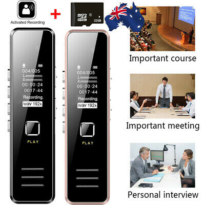 32GB Rechargeable Digital Sound Audio Voice Recorder USB Recording MP3 Player AU