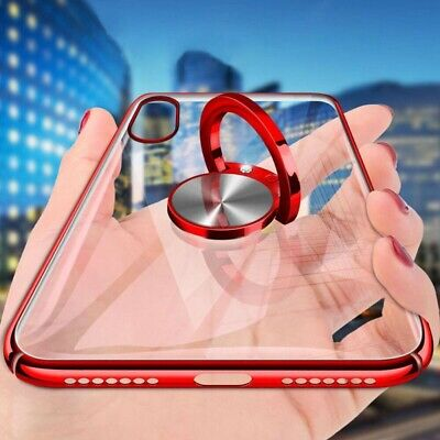 For iPhone XS Max 8 XR 7 Plus Hybrid Case Plating Ring Stand Magnet Clear Cover