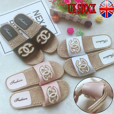 UK Womens Slip On Flat Sliders Ladies Summer Flip Flops Slipper Mules Sandals
