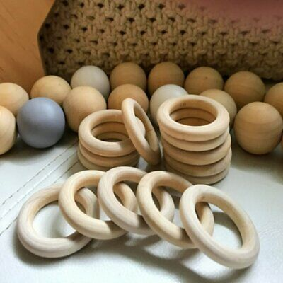10/20Pcs 15-55mm wood rings round pram craft baby donut ring wooden teether KU