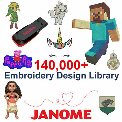 Janome Embroidery Designs USB Library (JEF) Cards 16GB