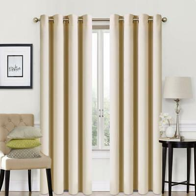 Soft Thermal Energy Saving Blackout Curtains Door Curtain Ring Top Eyelet Beige