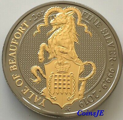 2019 Great Britain 2 oz Silver Queen's Beasts The Yale of Beaufort Ruthenium