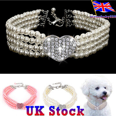 Pet Jewellery Necklace Accessories Puppy Dog Cat Party Pearl Rhinestone Collar