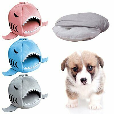 Cute Shark Mouth Pet Dog Cat Bed House Doggy Puppy Warm Kennel Cushion Pad KU