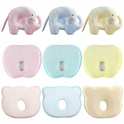 Baby Infant Newborn Memory Foam Pillow Prevent Flat Head Anti Roll Support KU