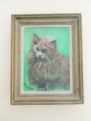 Original French Painting Canvas Oil Portrait Of Cat Angora Signed Gueltron