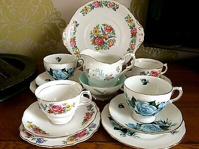 Vintage Tea Set Mismatched Floral China 4 Cups Saucers Milk Sugar Cake Plates