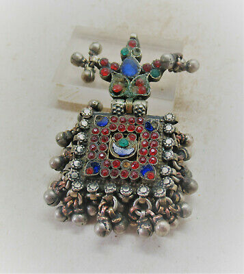 Beautiful Late Medieval Islamic Ottoman Silver Pendant With Stones