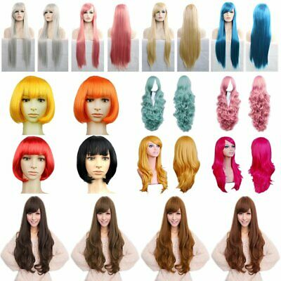 Women Straight/Curly Wavy Full Wig Heat Resistant Hair Cosplay Party Lolita KU