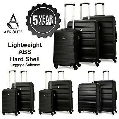 Aerolite Black ABS Hard Shell Hand Cabin Hold Check In Luggage Suitcase