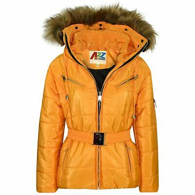 Kids Girls Jacket Puffer Hooded Faux Fur Mustard Padded Zipped Belted Warm Coats