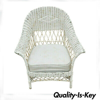 Antique Victorian Wicker Rattan Sunroom Patio Lounge White Arm Chair Furniture