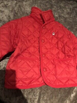 Baby Girls Red  Quilted Jacket 6-9Months United Colours Of Benetton