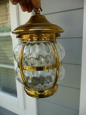 Vintage Brass+Obscure Glass Pot bellied Lantern+Hook-Pendent Lighting Fixture