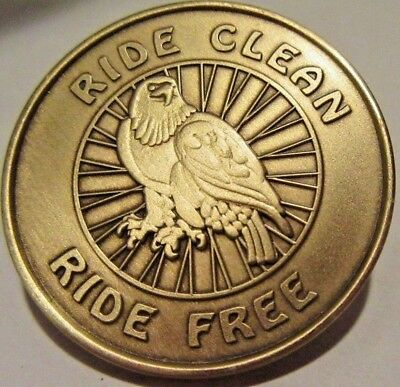 Alcoholics Anonymous AA NA Bronze Medallion Ride Clean Ride Free Coin Chip Token