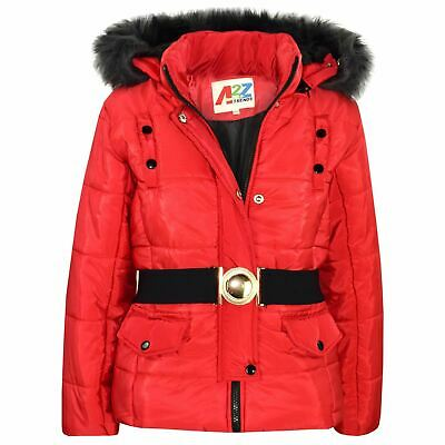 Kids Girls Puffer Jacket Red Faux Fur Hooded Padded Zipped Belted Top Warm Coats
