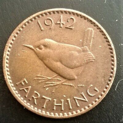 Bronze Wren Farthing coin 1/4 penny 1/4d 1942 George VI Fine crisp condition