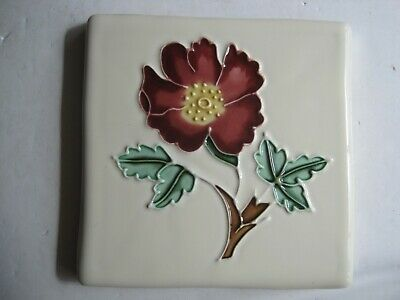 VINTAGE ORIGINAL STYLE 10 cms TUBE-LINED & HAND-PAINTED TILE - WILD ROSE