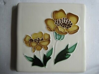 VINTAGE ORIGINAL STYLE 10 cms TUBE-LINED & HAND-PAINTED TILE - GOLDEN BUTTERCUP