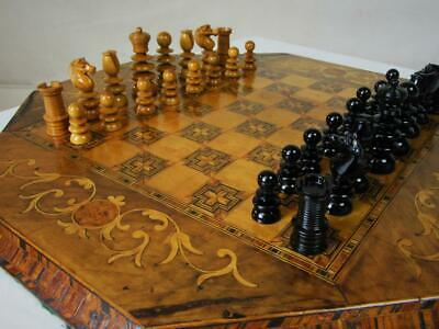 Antique Chess Set  Merryfield Pattern  And Tunbridge Marquetry  Board  Plus Box