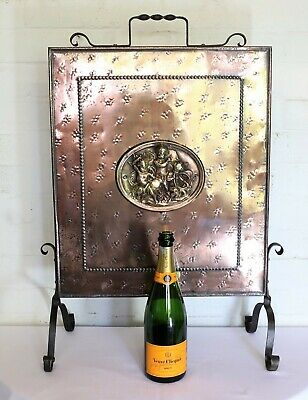 Antique Wrought Iron and Brass Victorian Copperised Fire Guard Fireplace Screen