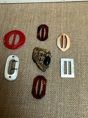 Vintage Lot of 7 Bakelite, Victorian, Mother of Pearl Belt Buckles