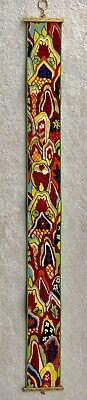 """Vintage Brass Bell Pull Needlepoint Wall Hanging Tapestry Floral Design 61"""" Long"""