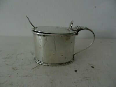 Solid Silver Mustard Pot With Spoon And Liner