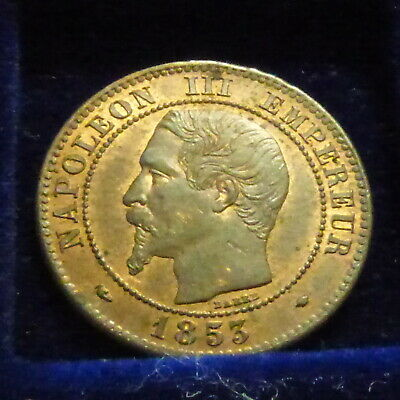 France 2 centimes 1853 MA SUP/VZ/XF Bronze (2g)