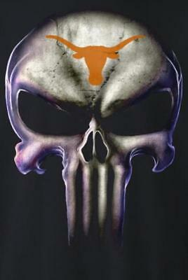 (2) Texas Longhorns Punisher Skull Vinyl Stickers 5x3.5 Car Window Decal