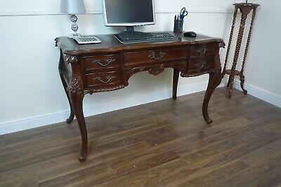 French Louis XV Antique Style Writing Desk In Solid Mahogany - Hand Carved