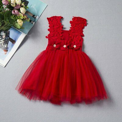 Lovely Lace Flower Girl Kids Toddler Princess Party Wedding Tutu Dresses