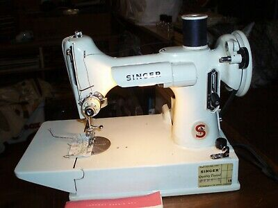Vintage Singer Feather Weight Sewing Machine & Case & Manual Working Condition