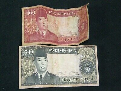 BANK OF  INDONESIA 500 & 100 RUPIAH Bank Note Paper Money 1960