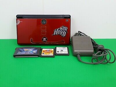Nintendo DS Lite Crimson Red & Black Handheld System Console w/ Games & Charger