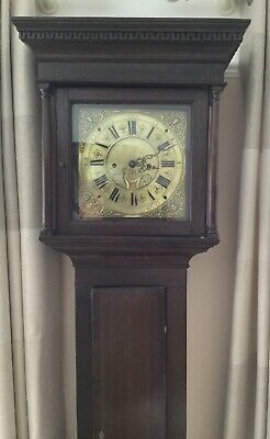 BRASS DIAL  8 DAY LONGCASE GRANDFATHER CLOCK Circa 1790 BY JONATHAN LEES