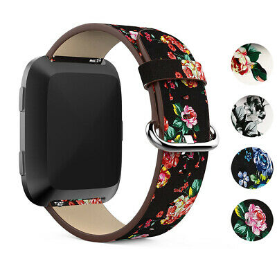 StrapsCo Leather Watch Band Strap w/ Floral Pattern for Fitbit Versa / 2 / Lite