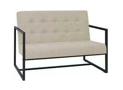 Modern Office Loveseat Sofa Small Creme Fabric 2 Seater Reception Guest Settee
