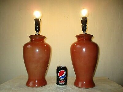 Large Pair Of Vintage Chinese Ceramic Table Lamp Bases