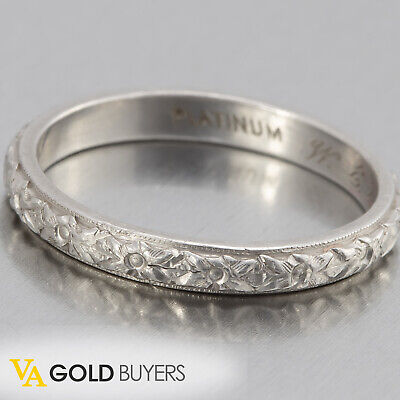 1920s Antique Art Deco 950 Platinum Filigree Wedding Band - Size 6.25